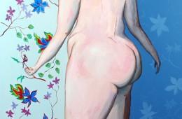Magalie et son petit oiseau Huile sur toile 180X120cm
