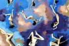 Nuages bleus  Acrylique et collage de photos sur toile 60X60cm