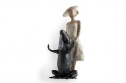 St Michel au dragon   sculpture bronze 40cm