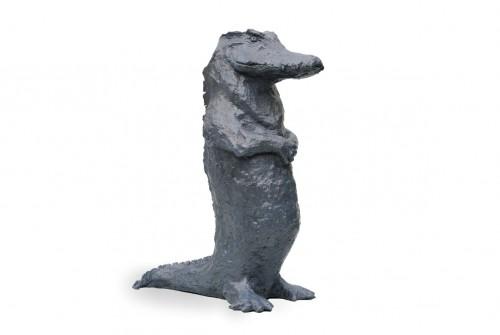 Le crocodile Série Les Prêtres Sculpture bronze 33cm