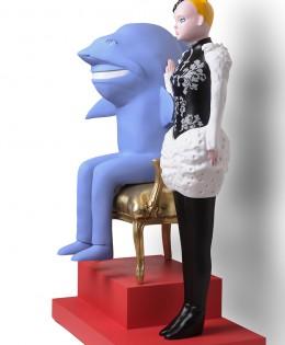 Trône royal Sculpture résine polyester 168cmX100cmX70cm